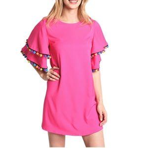 NWT LOVERICHE Pink Dress w/ Pom Pom Trim
